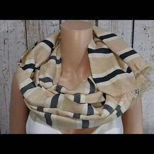 J. Crew tan blue & cream striped scarf made Italy